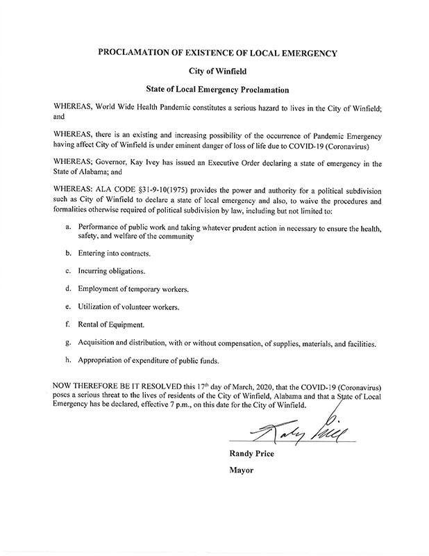 State of emergency Proclamation
